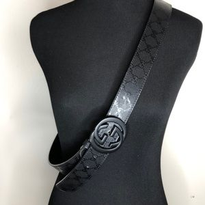GUCCI Double G Buckle Monogram Black Belt